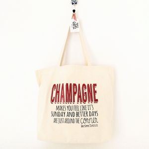 'Champagne' Quote Canvas Grocery Shopping Tote