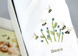Lady's Handkerchief: Bees And Blue Flowers