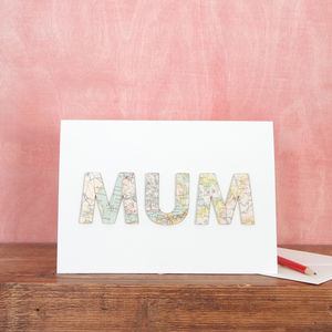 Personalised Mum Vintage Map Card