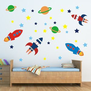 Outer Space Wall Sticker Set - children's room accessories