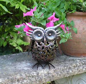 Metal Silhouette LED Solar Garden Light / Owl - lights & lanterns