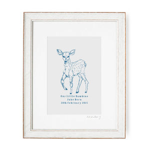 Bambino Baby Deer Personalised Print - posters & prints for children