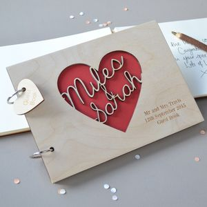 Personalised Heart Guest Book - albums & guestbooks