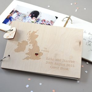 Personalised Destination Map Guest Book - wedding day tokens