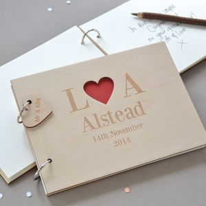 Personalised Heart Initials Wooden Guest Book - albums & guestbooks