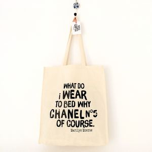 'Chanel No5' Marilyn Monroe Quote Cotton Tote Bag - shoulder bags