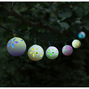 Solar LED String Lights / 16 Ceramic Globes - lighting