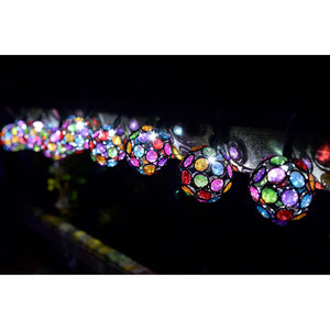 Solar LED String Lights / 10 Multi Gem Globes - fairy lights & string lights