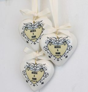 Vintage Wedding Personalised Hanging Heart Decoration - wedding favours