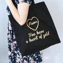 Personalised Heart Of Gold Canvas Shopper Bag