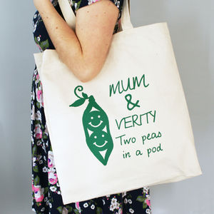 Personalised Peas In A Pod Canvas Shopper Bag