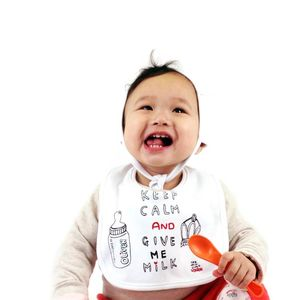 Personalised 'Keep Calm And Give Me Milk' Bib