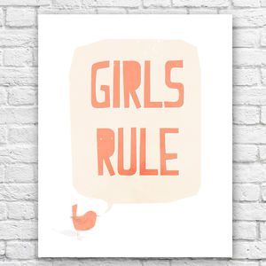 Girls Rule Illustrated Print