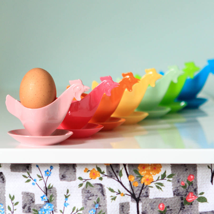 Four Retro Plastic Chicken Egg Cup Set By Berylune
