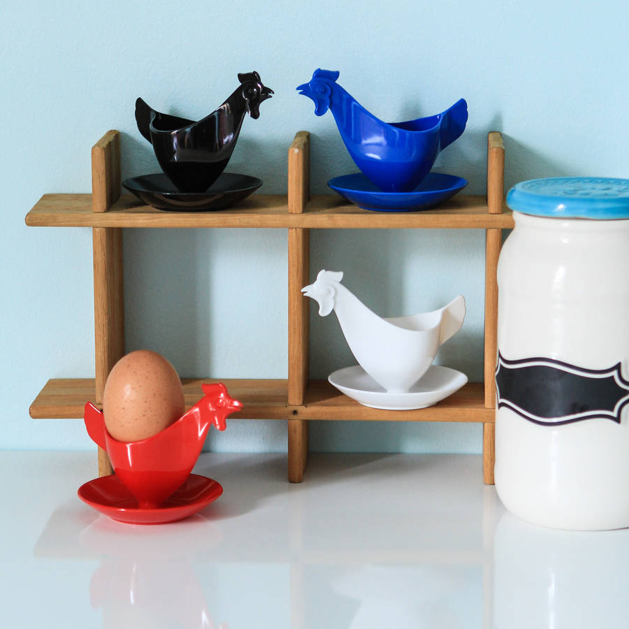 Set Of Four Retro Plastic Chicken Egg Cups