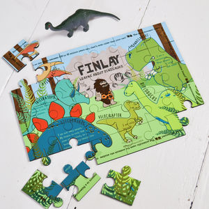 Personalised Learn About Dinosaurs Wooden Jigsaw Puzzle - on trend: dinosaurs