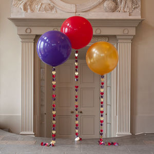 Giant Heart Tail Balloon In Red, Purple And Gold