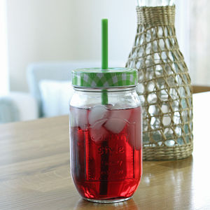 Green Gingham Jam Jar Bottle With Straw