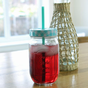 Blue Gingham Jam Jar Bottle With Straw