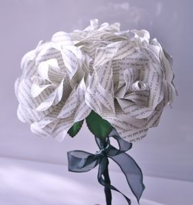 Book Page Paper Rose Bouquet - room decorations