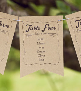 Frame Design Wedding Table Plan Bunting - table decorations