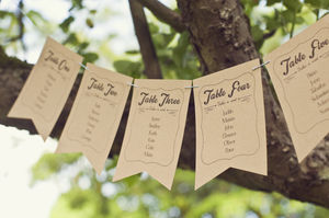 Frame Design Wedding Table Plan Bunting - table plans