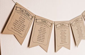 Ribbon Design Wedding Table Plan Bunting