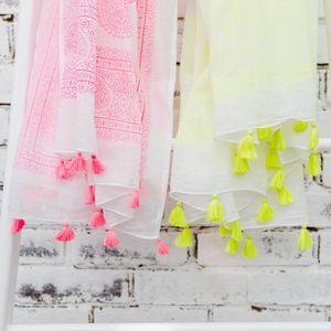 Personalised Neon Tassel Beach Wrap - women's fashion