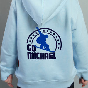 Child's Personalised Snowboard Hoodie - children's jumpers