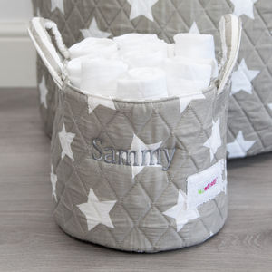 Personalised Small Grey Star Storage Basket - storage