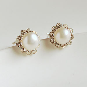 Pearl And Diamante Stud Earrings - earrings