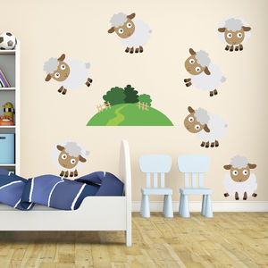 Counting Sheep Kids Wall Stickers - wall stickers