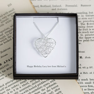 Personalised Wire Heart Charm Necklace - gifts for her