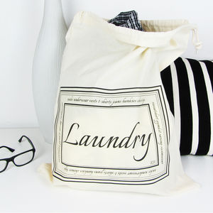 Home And Travel Laundry Bag With Personalised Initials - drawstring bags