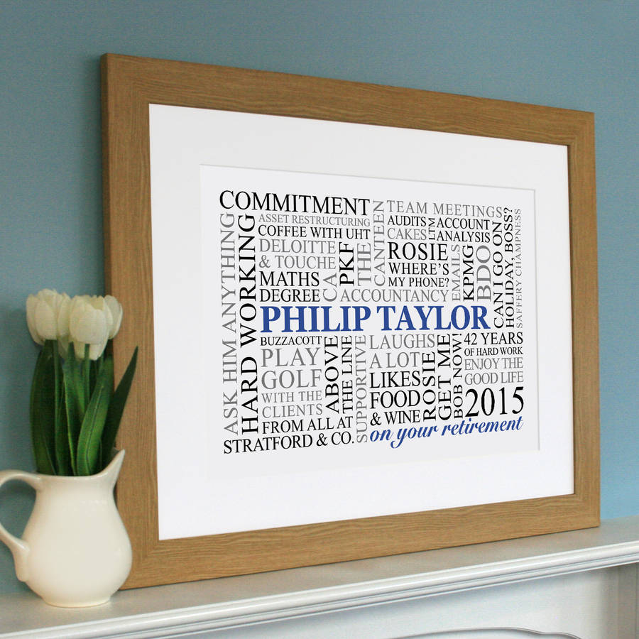 Personalised retirement word art by cherry pete for Personalised word art template