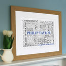 wooden framed print in white with blue name