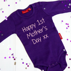 Personalised First Mother's Day Babygrow - gifts from younger children
