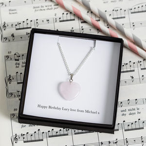 Personalised Rose Quartz Heart Charm Necklace - wedding jewellery