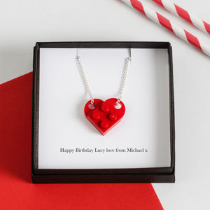 Personalised Building Block Heart Charm Necklace - women's jewellery
