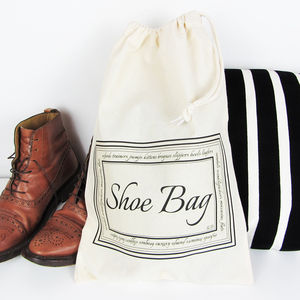 Home And Travel Shoe Bag With Personalised Initials - bedroom