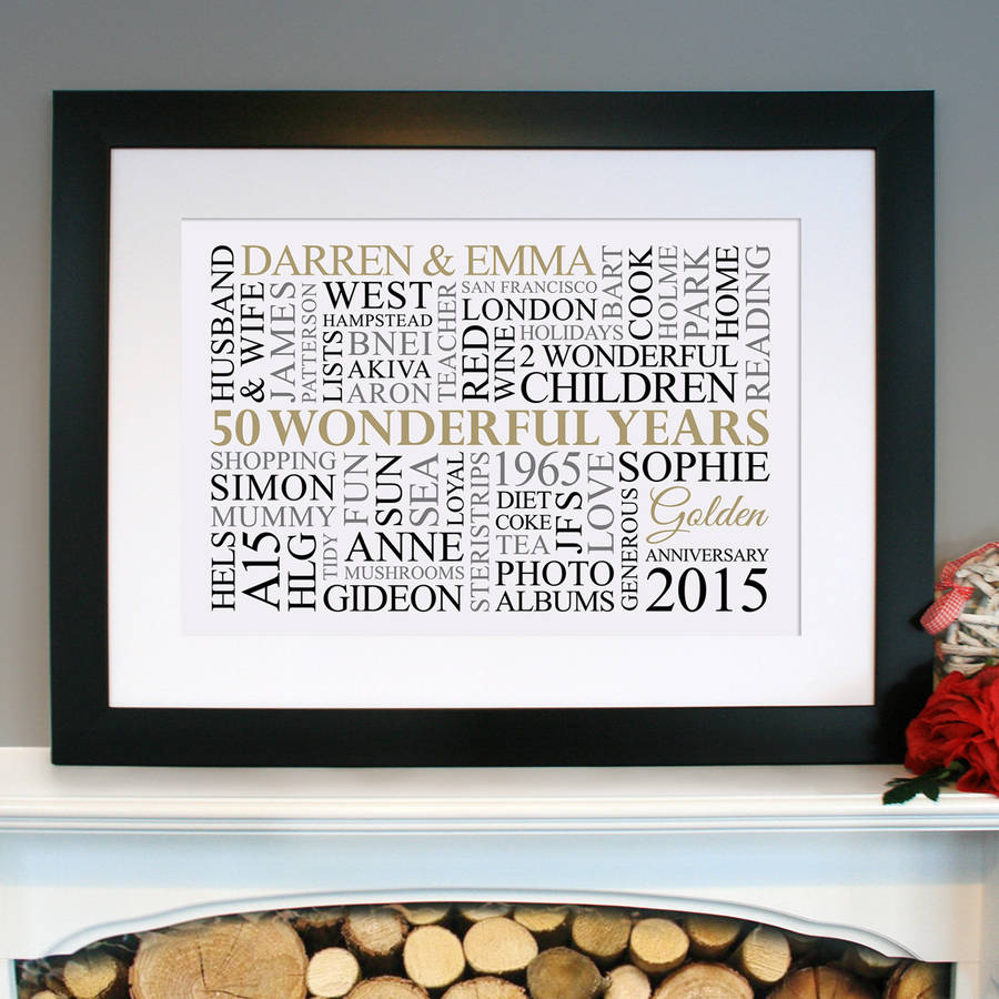 Personalised Golden Anniversary Word Art By Cherry Pete