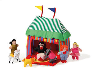 Fabric Circus Tent And Entertainers - garden sale