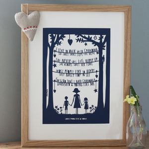 Personalised Grandparent Papercut Or Fine Art Print - art & pictures