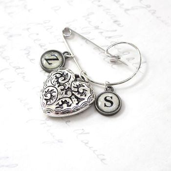 Personalised Heart Brooch