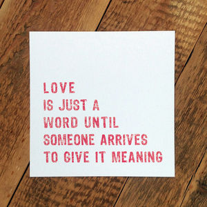 Engagement Card; 'Love Is Just A Word' - wedding, engagement & anniversary cards