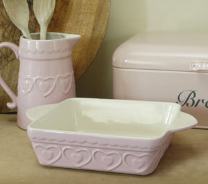 Pink Hearts Square Oven Dish - crockery & chinaware