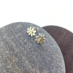 Silver And Yellow Gold Daisy Stud Earrings