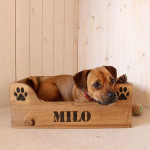 Personalised Wooden Crate Pet Bed - dogs