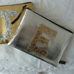 Metallic Glitter Initial Zip Purse