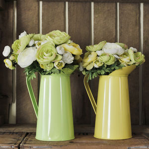 Coloured Metal Flower Jug - tableware